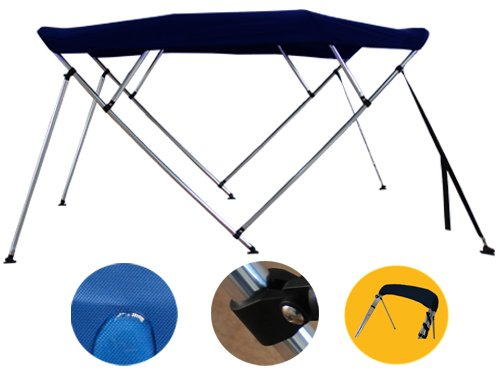 Brightent Navy Blue Bimini Top 6 Different Size 3-4 Bow Boat Canopy Cover with Free Support Poles and Towel Clips (4 Bow L8'/W91