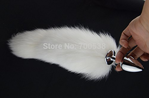 S White Fox Tail butt plug 35cm long Anal Plug Metal Butt Plug Anal tail Sex Toy 2.8*7.5cm plug for choice