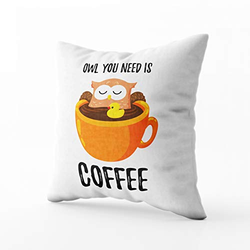 Template Doodle - GROOTEY Square Pillowcase with Zip for Easter Couch Sofa Décor Cute Cartoon owl in Cup Coffee Doodle Template Print a 16X16Inch Throw Pillow Covers Cushion