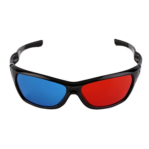 2 Pcs Universal 3D Glasses Black Frame Red Blue Glass For Dimensional Movie Game