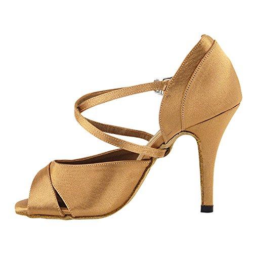 50 Tonalità 2828 Sandali Con Sandali Eleganti Da Sera, Scarpe Da Ballo Da Donna (tacchi Alti 2,75, 3 E 3,5) 2828-marrone Satinato