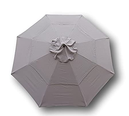 Double Vented 9ft Market Umbrella Canopy 8 Ribs Taupe (Canopy Only)
