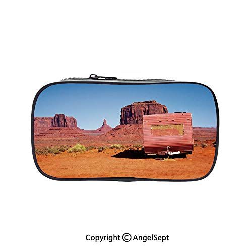 Two Big Pockets for Executive Fountain Pen,Abandoned Caravan Monument Valley Arizona Desert Arid Country Decorative Orange Pink Blue 5.1inches,Multi-Functional 72 Slots Colored Pencil Case -
