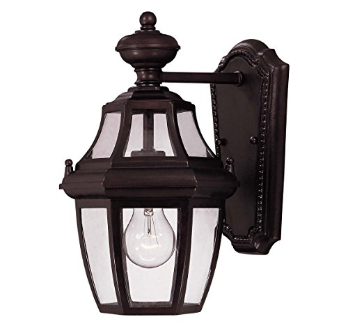 Savoy House Lighting 5-490-13 Endorado Collection 1-Light Outdoor Wall Mount 13.25-Inch Lantern, English Bronze Finish with Clear - Entrance English Bronze