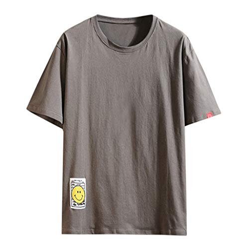 Fhuiml Men's Casual Large Size Summer Short Sleeve Solid Loose O-Neck T Shirts(Dark Gray,XXXXXL)