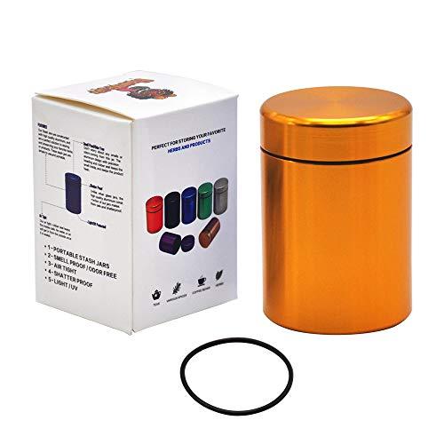 Stash Jar - Airtight Smell Proof Durable Multi-Use Portable Metal Herb Jar Container. Waterproof Aluminum Screw-top Lid Lock Odor-Coral Orange