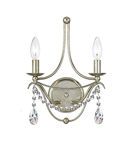 Crystorama 412-SA-CL-MWP Metro II - Two Light Wall Sconce, Clear Hand Cut - Cut Light Crystal Hand Clear