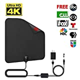 Sumee TV Antenna, Indoor Digital Amplified HDTV Antennas 50-80 Miles Range with Detachable Signal Amplifier, UL Adapter and 16.5FT Longer Coax Cable - Support 4K 1080p (Black)