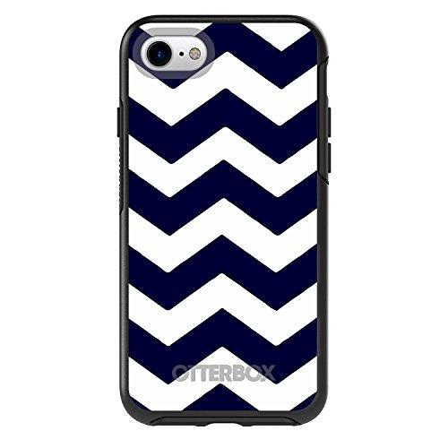 DistinctInk Case for iPhone 7 / iPhone 8 (NOT Plus) - Black Custom OtterBox Symmetry - Navy Blue White Chevron Stripes - Chevron Stripes Pattern