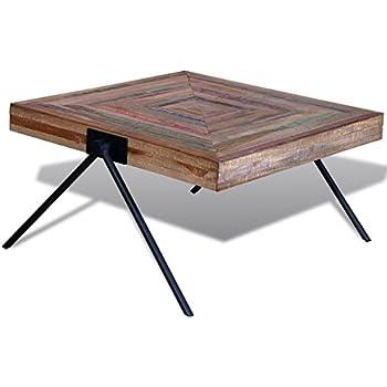 Handmade Coffee Table with V-shaped Legs Reclaimed Teak Wood, Living Room Furniture Decor