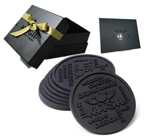 "Kitsil Premium Bar Drink Coasters Silicone Black 4"" - Protects Your Furniture - No Damage, No Water Marks + Sturdy Box as Holder - Best Coaster Set of 8!"