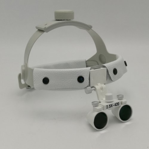 EAST Dental White Color Surgical Binocular 2.5X420mm Leather Headband Loupe + LED Headlight