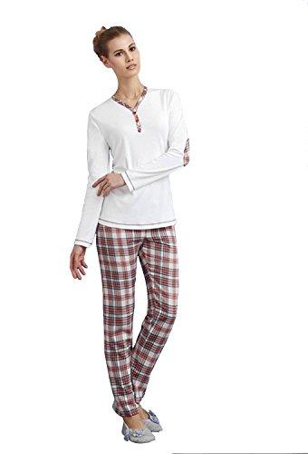Andra Dreamwear Interlock Cotton Plaid Flannel Bottoms Pajama/Lounge Set