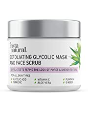 Exfoliating Glycolic Face Mask & Scrub - Acne & Blackhead Treatment for Brightening and Exfoliation with Turmeric & Vitamin C - Natural AHA Enzyme Exfoliant for Scars & Glowing Skin