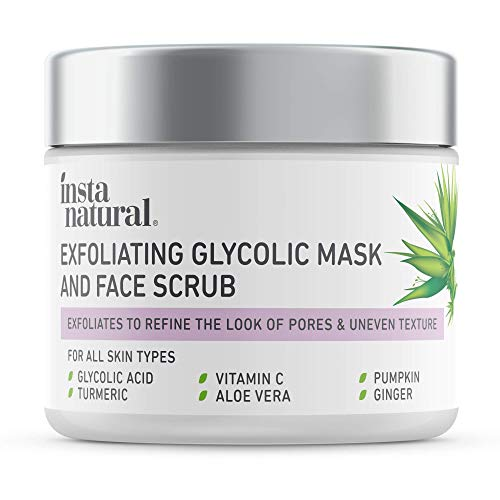 InstaNatural Exfoliating Glycolic Face Mask & Facial Scrub – Blackhead Treatment for Brightening and Exfoliation with…