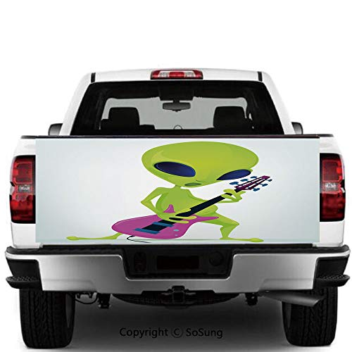 SoSung Popstar Party Vinyl Wall Stickers,Cartoon Alien Character Playing Electric Guitar Music Monster Decorative Cars Trucks Decorative Decal Sticker,60x20 Inches, Green Pink Navy Blue