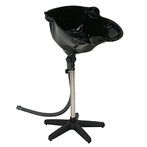 ZENY Portable Adjustable Height Deep Shampoo Basin Sink with Drain Hair Treatment Bowl Tool, Black