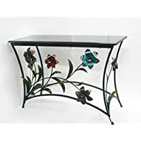 Metal Entryway, Hallway, Living Room Table Adourned with Colored Flowers For Home & Office Use
