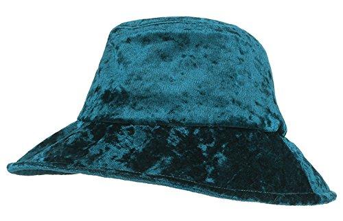 (Gemvie Women Bucket Hat Formal Velvet Fisherman Cap Vintage Tea Party Derby Hat Green)