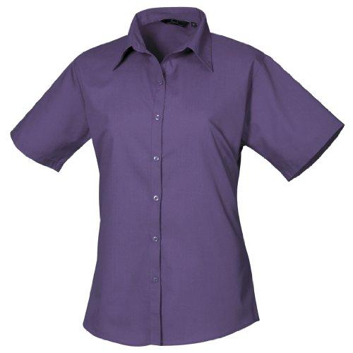 Workwear Fonc Poplin Sleeve Premier Ladies Violet Blouse Femme Short pWqR8Bd