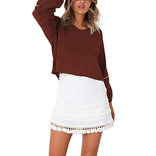Clearance Sale! Women Tops Daoroka Ladies Sexy V-Neck Long Lantern Sleeve Knitted Patchwork Pullover Blouse Casual Loose Fashion Autumn Winter Cute Comfort Soft Crop Tunic T Shirt by Daoroka Women Blouse