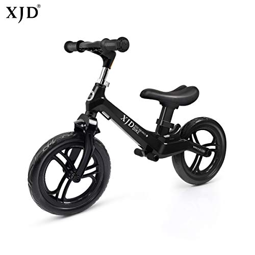 XJD Ultralight Balance Bike (4.8 lbs) for Ages 1.5 to 5 Years Magnesium Best Sport Push Bicycle for 2, 3, 4 Year Old Boys & Girls Toddlers Kids Skip Tricycles on The Lightest First Bike (Black)