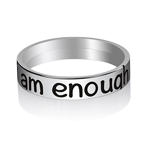 (Memories Coding Personalized Inspirational Rings for Girls (i am Enough,)