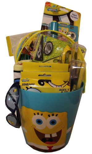 Spongebob Squarepants Summer Fun & Swim Gift Basket includes Beach Towel, Swim Ring, Goggles, and More!! by SpongeBob SquarePants