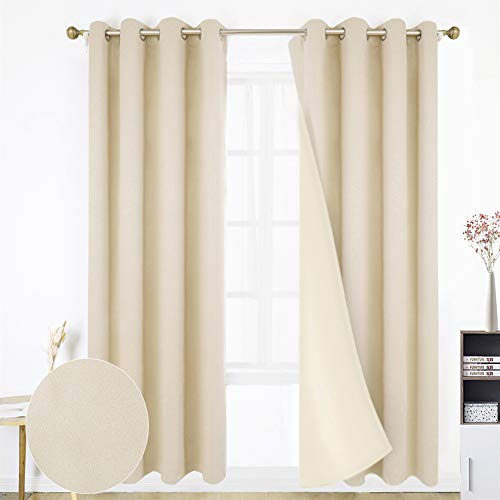 HOMEIDEAS 100% Blackout Curtains - 2 Panels Beige Room Darkening Window Curtains, Thermal Insulated Solid Grommet Drapes for Bedroom & Living Room, 52 x 84 inches