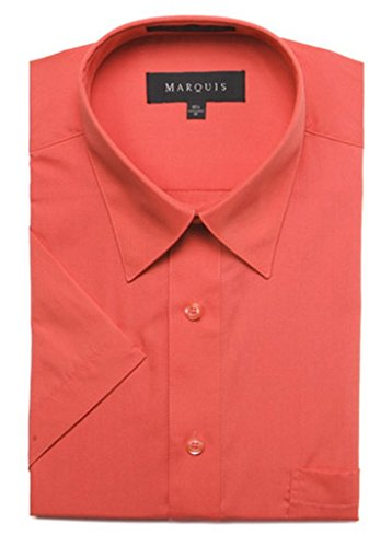 MARQUIS Men's Short Sleeve Dress Shirt Extra-Large Smoked Salmon
