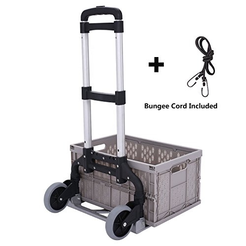 Meditool Cart Personal 150lb Capacity Trolley Folding Hand Truck Aluminum Lightweight Trolley with Collapsible and Detachable Box by Meditool