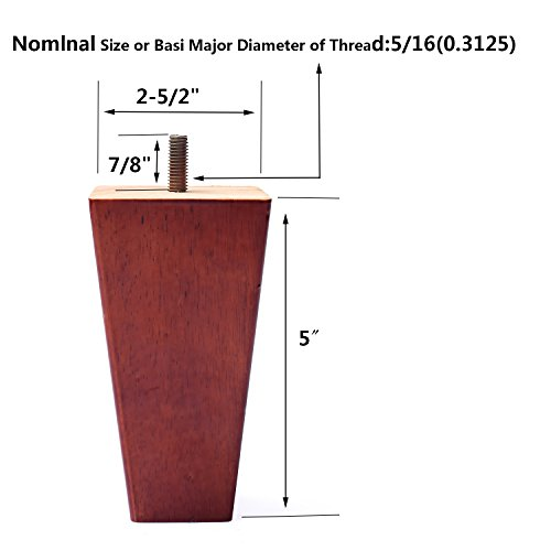 Sofa Legs Set of 4,Tapered 5 Inch Solid Wood Furniture Sofa/Chair/Couch/Loveseat Replacement legs