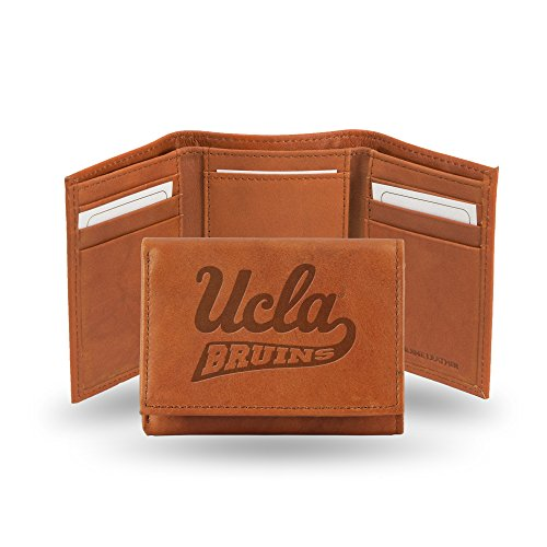 NCAA UCLA Bruins Embossed Genuine Leather Trifold Wallet Ucla Leather Wallet