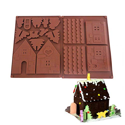 Palksky Christmas House Mold/Gingerbread Silicone Baking Mould Perfect Tools for DIY Chocolate Biscuit Assembly (2Pcs)