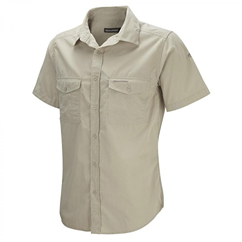 Craghoppers Men's Kiwi Short-Sleeve Shirt, Oatmeal, Large from Craghoppers