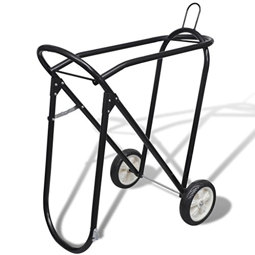 vidaXL Collapsible Steel Saddle Stand with Wheels Rolling Tack Rack Yard Stable Storage