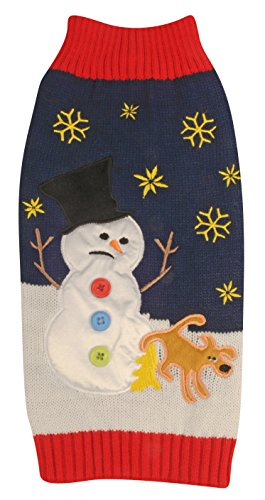 New York Dog Ugly Holiday Sweater for Pets, Navy Snowman and Dog, Large