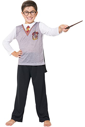 Harry Potter Big Boys' Harry Potter 'Gryffindor House Crest Wizard Uniform with Cape' 3 Piece Costume Pajama Set, Multi, 6/7 ()