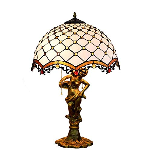 Lamp and Cross Bead Design Glass Desk Lamp with Zinc Alloy Base, Living Room Bedroom Study Art Table Lamp, E27 ()
