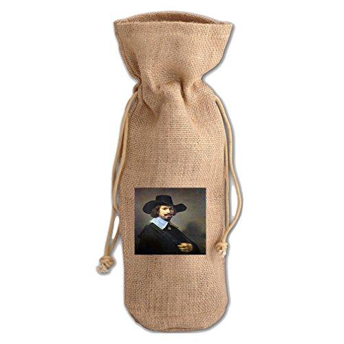 (Portrait Of Martin Looten (Rembrandt) Jute Burlap Burlap Wine Drawstring Bag)