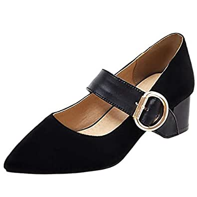 Melady Women Fashion Pumps Block Heels Mary Janes Pointed Toe Belt Buckle Shoes Party Heels Mini Sizes Black Size 32