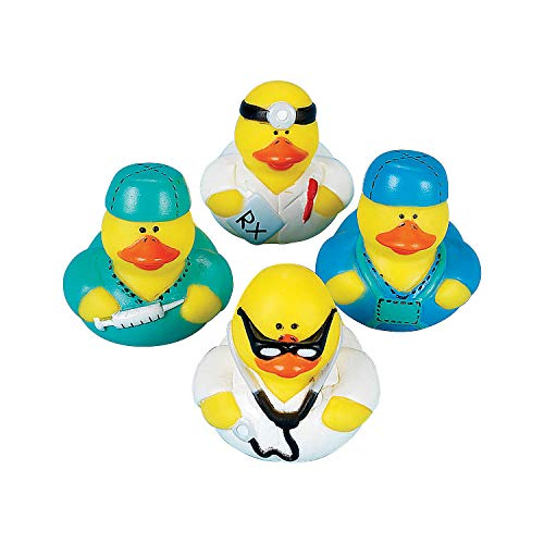 Fun Express - Doctor Rubber Ducks - Toys - Character Toys - Rubber Duckies - 12 Pieces