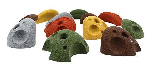 Atomik Climbing Holds 12 Large Divot Bolt on Jugs Rock Climbing Holds Hand Holds Mixed Earth Tones