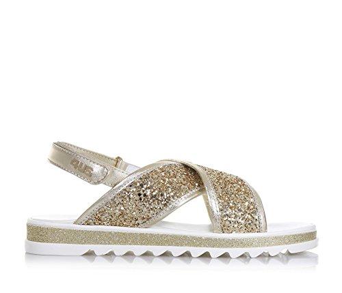 4US CESARE PACIOTTI - Sandale dorée en cuir et glitter, avec fermeture en velcro, bandes frontales croisées, fille, filles, femme, femmes