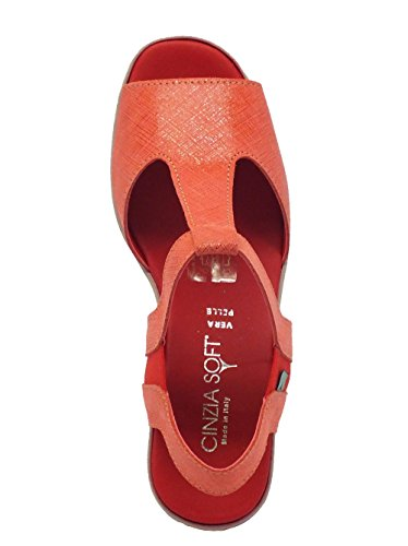 Red Sandal processing saffiano Cinzia Red Leather Soft 56wW8