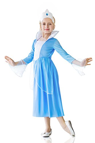 Kids Girls Winter Princess Halloween Costume Snow Maiden Dress Up & Play Role (6-8 years, blue, (Ice Queen Halloween Outfit)