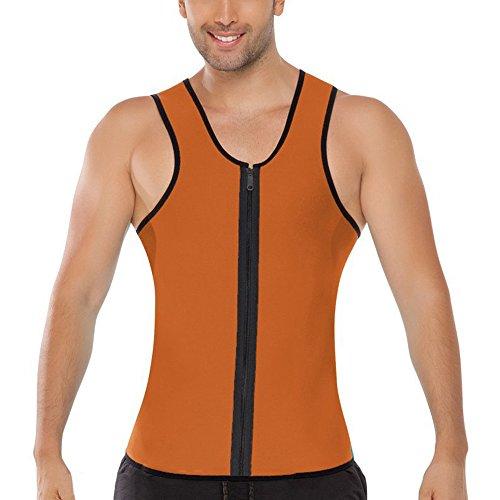 Running Casual Zipper Men's Rera Tank Slim Vests Top Orange Sleeveless Fit Down 0pUgfwqp
