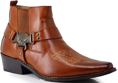Enzo Romeo WT10 Men's Western Cowboy Motorcycle Ankle Boots (10 D(M) US, Brown)