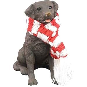 Sandicast Chocolate Labrador Retriever with Red and White Scarf Christmas Ornament