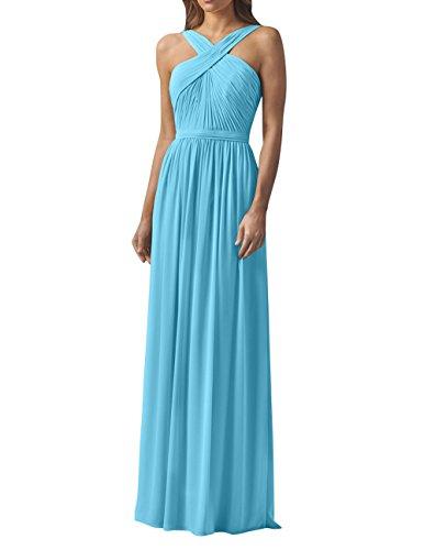 Geraft Brau La Abendkleider Chiffon Partykleider Blau Brautjungfernkleider mia A Lang Festlichkleider Promkleider Neckholder Linie 4Hqxwxtn